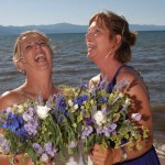 Laughing maid of honor and bridesmaid