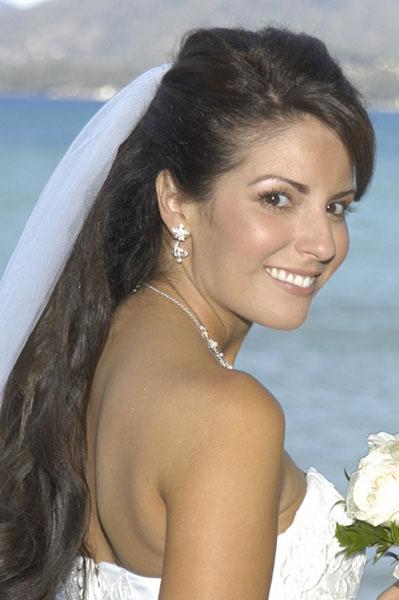 Pretty bride smiles wide