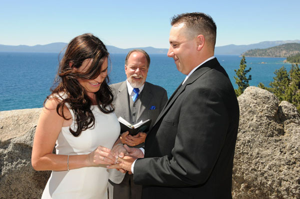 Exchanging the rings during the ceremony