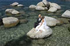 Enjoying the beautiful view on their wedding day at Sand Harbor