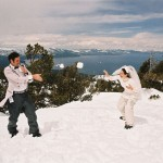 Throwing snowballs at each other