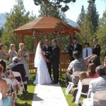 A wedding in progress at the gazebo