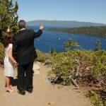 Newlyweds have a toast at Emerald Bay