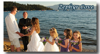 Visit our Zephyr Cove Beach wedding photo gallery