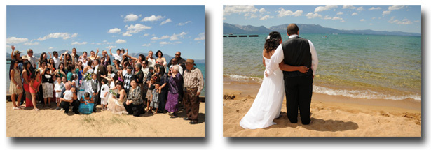 The newlyweds on the beach as their guests gather around them