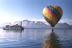 Hot air balloon preparing to lift off over Lake Tahoe