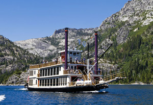 The Tahoe Queen paddling across Lake Tahoe