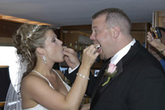 Tradition has it that the bride and groom feed the cake to one another