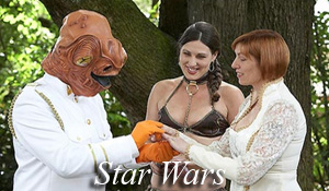 Vow exchanges taking place while dressed in Star Wars costumes