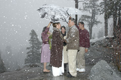 A Tahoe wedding taking place during a winter storm near Emerald Bay