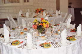 View of the catered reception room
