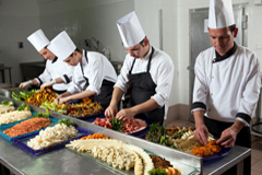 The caterers preparing the meals for the wedding reception