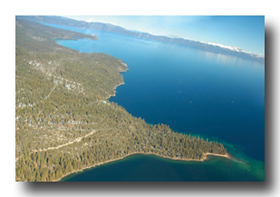 Aerial view of Lake Tahoe from the helicopter