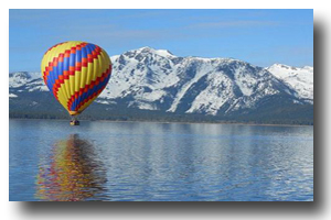 Descending balloon over Lake Tahoe