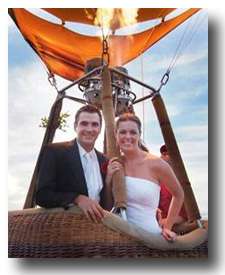 Bride And Groom Launch Their Balloon
