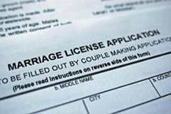 Application used when applying for a California marriage license