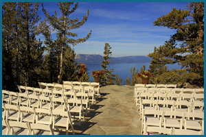 View of the ceremony area with Lake Tahoe in the background