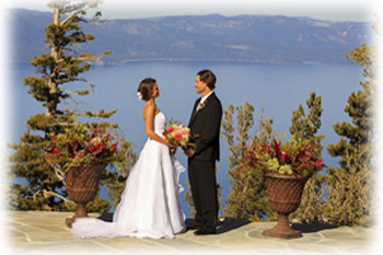 Newly married couple standing on the deck on Heavenly Mountain