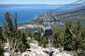 The gondola traveling up the mountainside