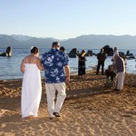 Walking down the aisle of matrimony on the beach