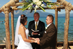 Exchanging vows on the beach