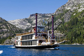 The riverboat cruising on the lake
