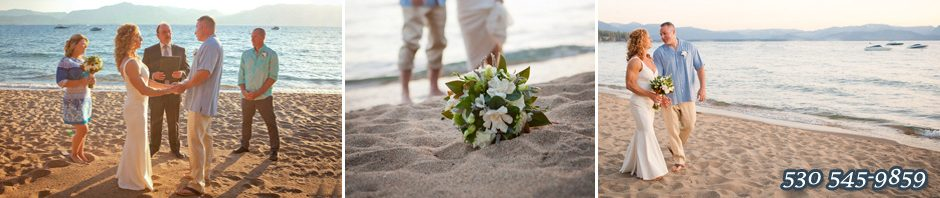 The bride and groom on the beachfront
