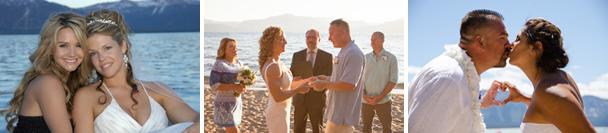 Wedding party poses on the beachfront